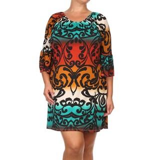Multiclored Damask Plus Size Shift Dress