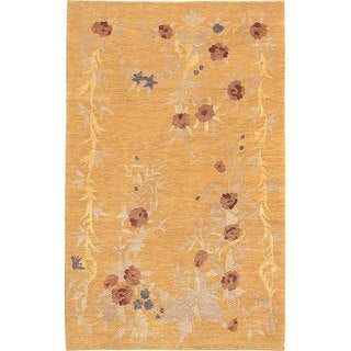 Abbyson Living Hand-knotted 'Jasmine' Gold Wool Rug (8' x 10')