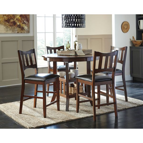 Signature Design By Ashley Renaburg Brown Upholstered Barstool And Counter  Table (Set Of 4)