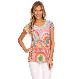 High Secret Women's Multicolor Polyester/Viscose Short-sleeve Abstract Print Top