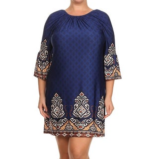 Women's Blue Polyester and Spandex Plus Size Shift Dress