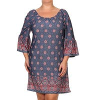 Women's Multicolored Polyester and Spandex Arabesque Shift Plus Dress