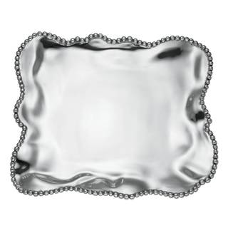Lenox Organics Beaded Wave Metal Large Square Tray