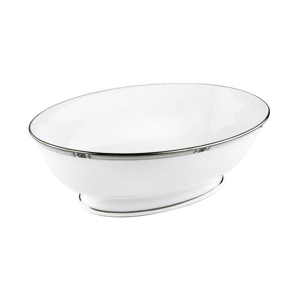 Lenox Westerly Platinum White Silver China 9.5-inch Dishwasher Safe Vegetable Bowl