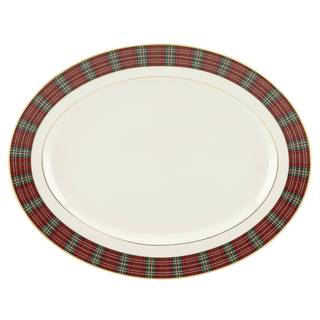 Winter Greetings Plaid 16-inch Oval Platter