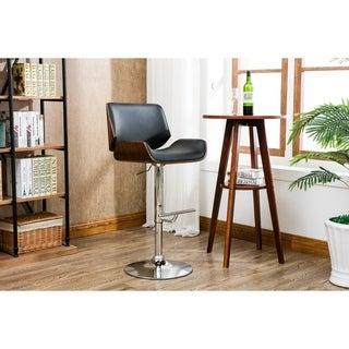 Porthos Home Oriole Wood and Chrome Bar Stool