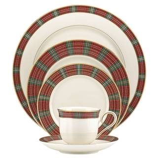 Lenox Winter Greetings DW Round China Plaid 5-piece Place Setting