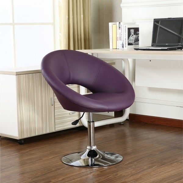 17 22 Inch Bonded Leather Chrome Adjustable Swivel