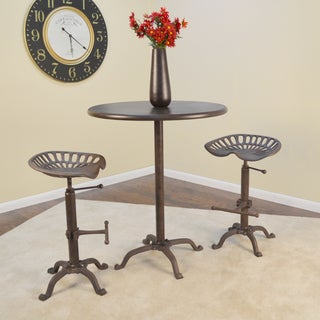 Selma Brown Metal/Cast Iron 30-inch Round Bar Table