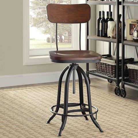 Carbon Loft Baird Black/Chestnut Metal/Wood Adjustable Stool