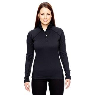 Women's Black Fleece Stretch Half-Zip Jacket