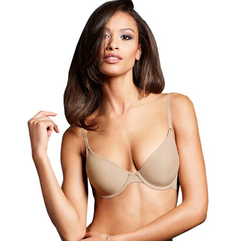 Maidenform Women's One Fab Fit Beige Nylon Original Tailored Demi T-shirt Bra
