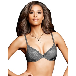Maidenform Women's One Fab Fit Steel Grey Embellished Demi T-Shirt Bra
