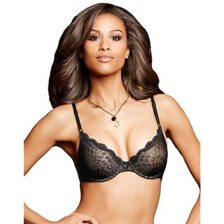 Maidenform Women's One Fab Fit Black Nylon Embellished Demi T-shirt Bra with Body Beige Lining