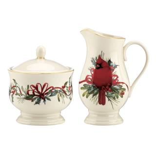 Lenox Winter Greetings Porcelain Sugar and Creamer Dishes