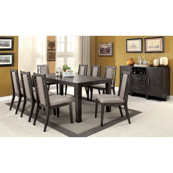 9 Piece Formal Dining Room Sets: Shop Furniture Of America Basson Rustic Grey 9-Piece