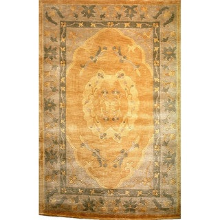 Abbyson Hand-knotted 'Oceans of Time' Gold Wool Rug (9' x 12')