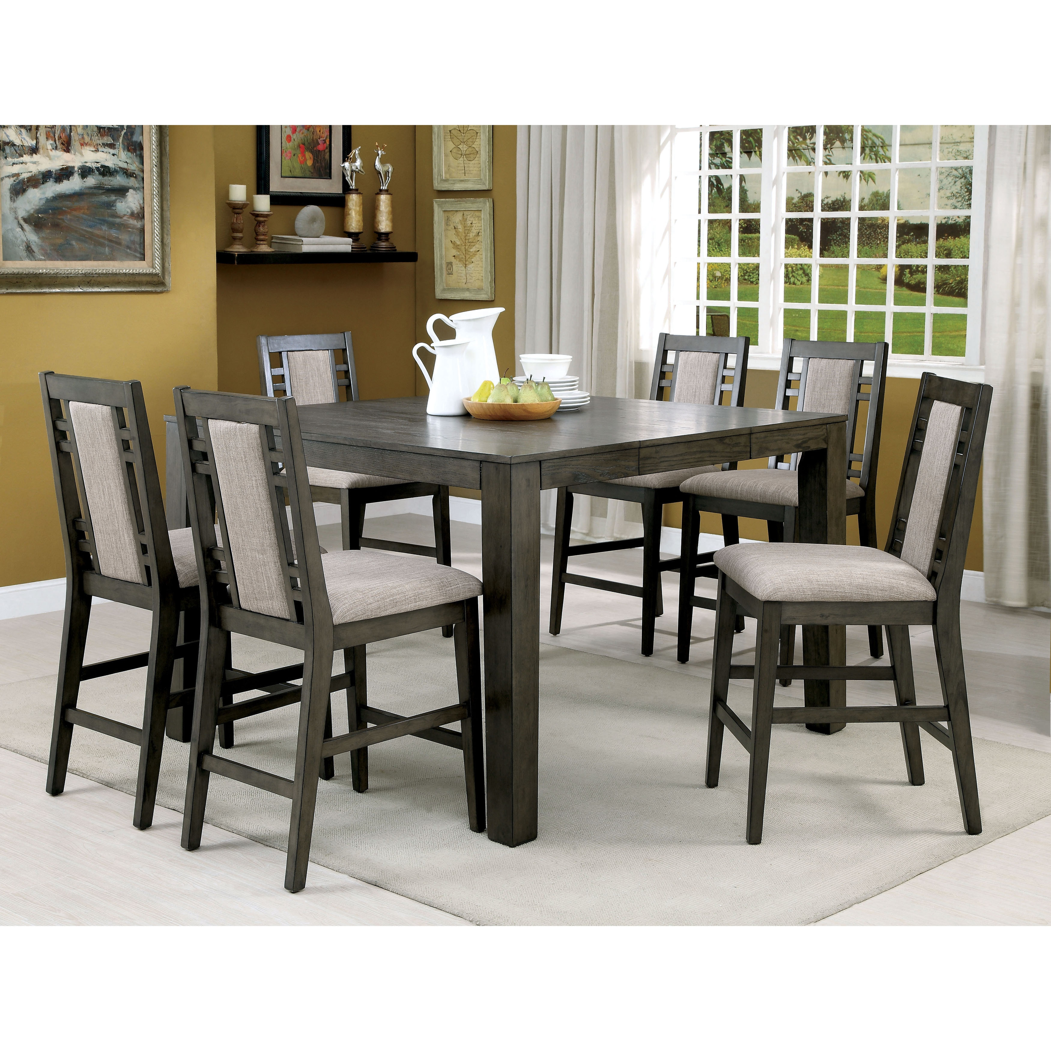 Furniture of America Basson Rustic Grey Expandable Counte...