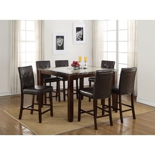LYKE Home Elijah Square Faux Marble Counter Height Dining Table