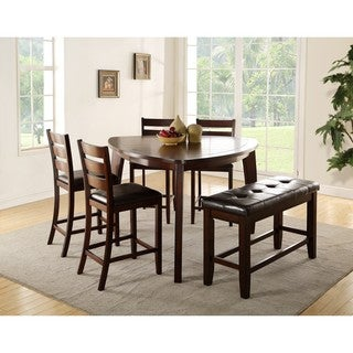 LYKE Home Elijah Triangluar Cherry Finish Counter Height Table