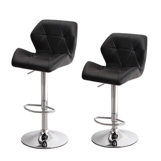 Adeco Chrome/Black Metal/Foam/Faux Leather Hydraulic Adjustable Height Bar Stool Chairs (Set of 2)