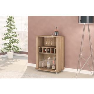 Brown MiniBar with 2 Glass Doors and Wine Rack