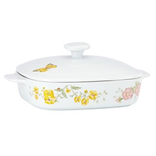 Lenox Butterfly Meadow White Ceramic Square Covered Casserole with Lid