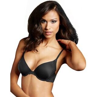 Maidenform Women's Love the Lift Black Nylon Natural Boost Demi T-shirt Bra
