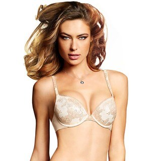 Maidenform Women's Love the Lift Latte Lift/Ivory Nylon Original Custom Lift Embellished Demi Push-up Bra