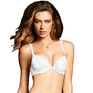 Maidenform Women's Love the Lift White Nylon Original Custom Lift Embellished Demi Push-up Bra