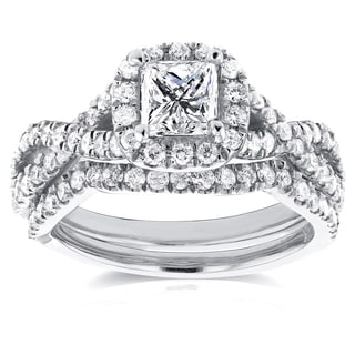 Annello by Kobelli 14k White Gold 1 1/5ct TDW Princess Diamond Halo Crossover Double Band Bridal Rin