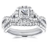 Annello by Kobelli 14k White Gold 1 1/5ct TDW Princess Diamond Halo Crossover Double Band Bridal Rin
