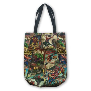 Marvel Retro Comic Red Canvas Shopper Tote Bag