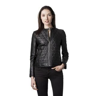 Mason & Cooper Women's Skyler Black Navy Lambskin Leather Fully Lined Moto Jacket