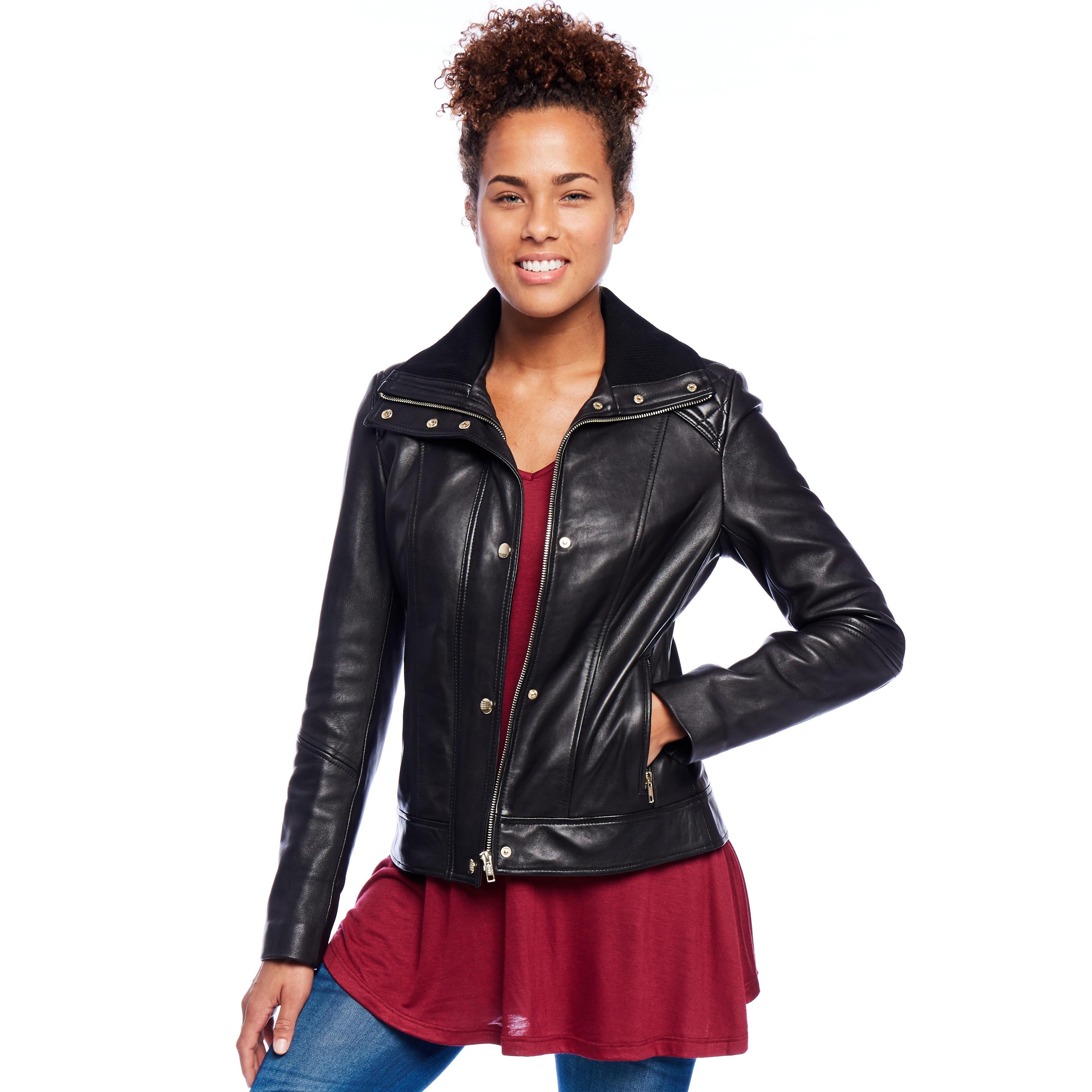 Mason & Cooper Women's Hanna Leather Jacket (S - 5X) (Nav...