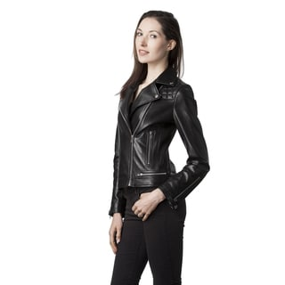 Mason & Cooper Women's Blue/Black/Pink Leather Jacket