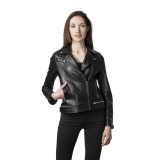 Mason & Cooper Women's Blue/Black/Pink Leather Jacket|https://ak1.ostkcdn.com/images/products/12152398/P19006516.jpg?impolicy=medium