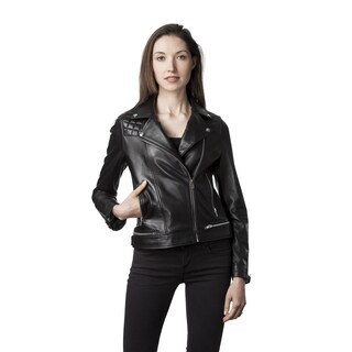 Mason & Cooper Women's Blue/Black/Pink Leather Jacket