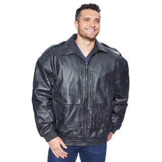 Wilda Men's Big & Tall Black Leather Jacket (5 options available)