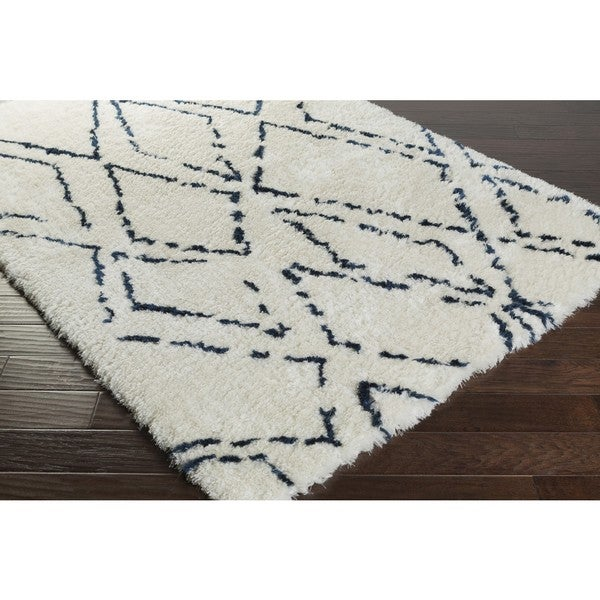 Plush Navy Rug: Hand-Tufted Vanna Navy And Ivory Abstract Plush Rug (5' X