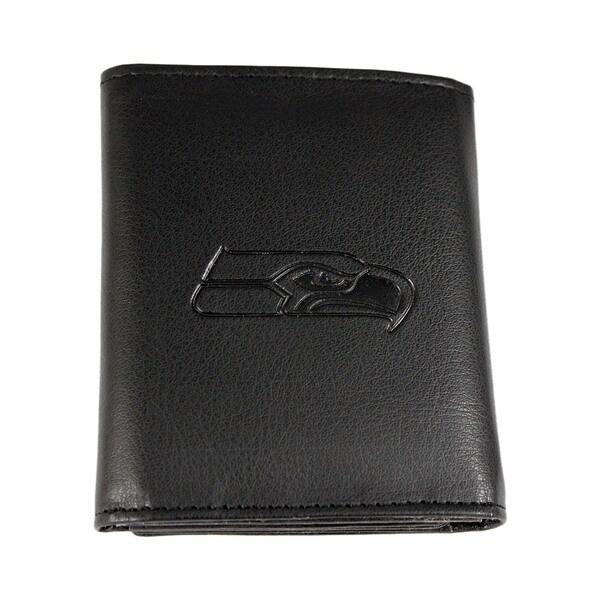 Siskiyou Black Leather Seattle Seahawks Embossed Tri-fold Wallet