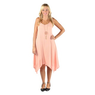 Hadari Womens Peach Sleeveless V-neck boho dress