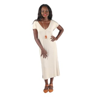 Hadari Womens Slimfit Royal Blue V-Neck 1/4 Sleeve Long Shift Dress with Slit at each side