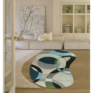 Hand-Tufted Contemporary Mayflower Circles Wool Rug (8' x 10' Kidney)