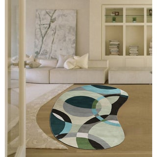 Hand-Tufted Contemporary Mayflower Circles Wool Rug (6' x 9' Kidney)