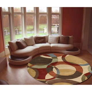 Hand-Tufted Contemporary Mayflower Circles Wool Area Rug - 6' Round