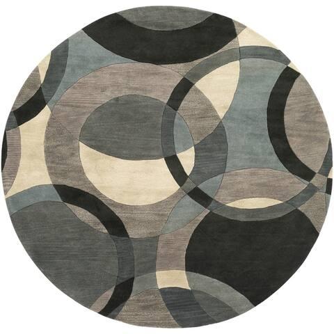 Mayflower Handmade Modern Circles Wool Area Rug