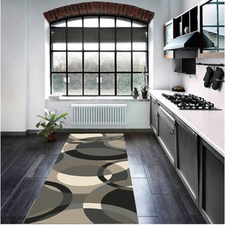 Hand-Tufted Contemporary Mayflower Circles Wool Rug (3' x 12')