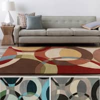 Hand-Tufted Contemporary Mayflower Circles Wool Area Rug (8' x 11') - 8' x 11'