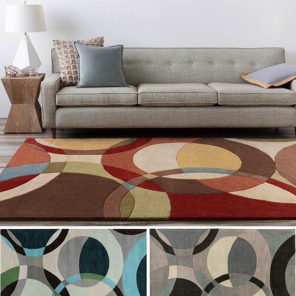 Hand-Tufted Contemporary Mayflower Circles Wool Area Rug - 7'6 x 9'6